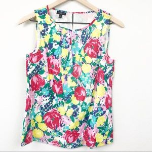 Talbots Floral Sleeveless Top Bright Colorful NWOT